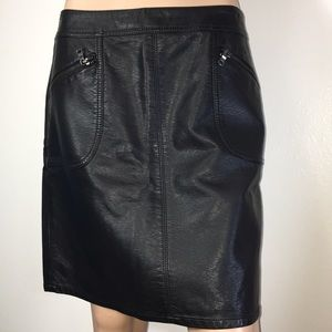 Awesome Black Faux Leather Skirt